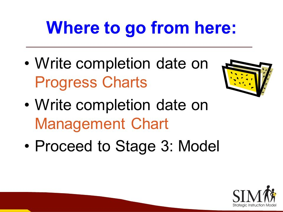Where to go from here: Write completion date on Progress Charts