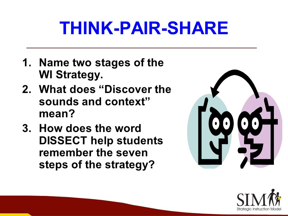 THINK-PAIR-SHARE Name two stages of the WI Strategy.