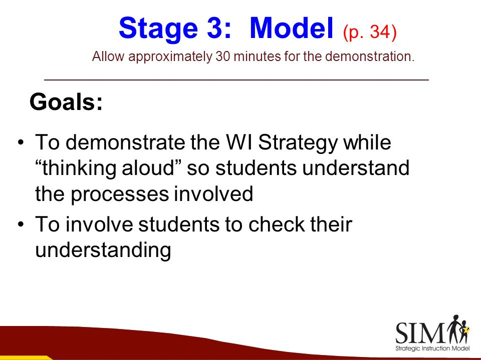 Stage 3: Model (p. 34) Allow approximately 30 minutes for the demonstration.