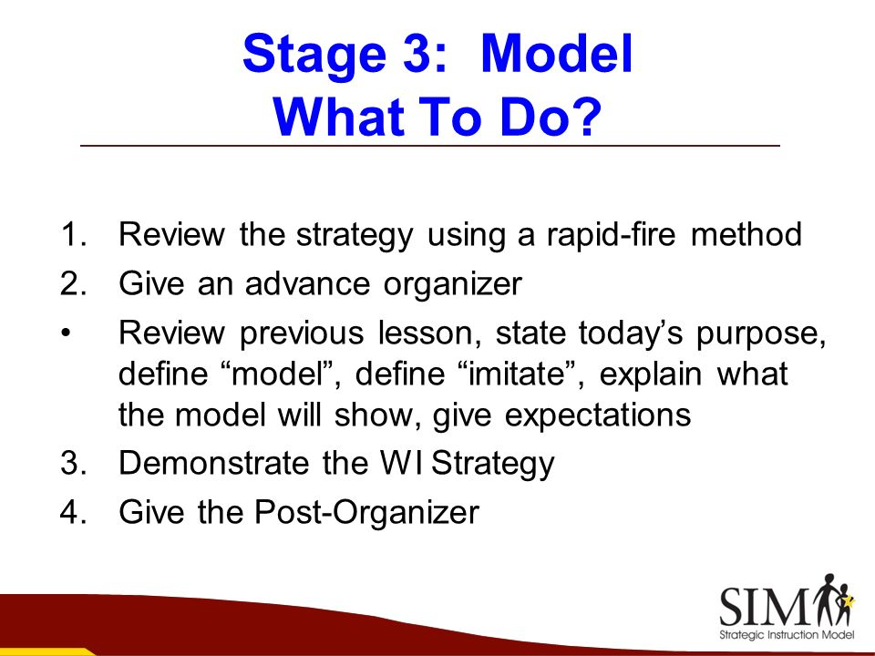 Stage 3: Model What To Do Review the strategy using a rapid-fire method. Give an advance organizer.