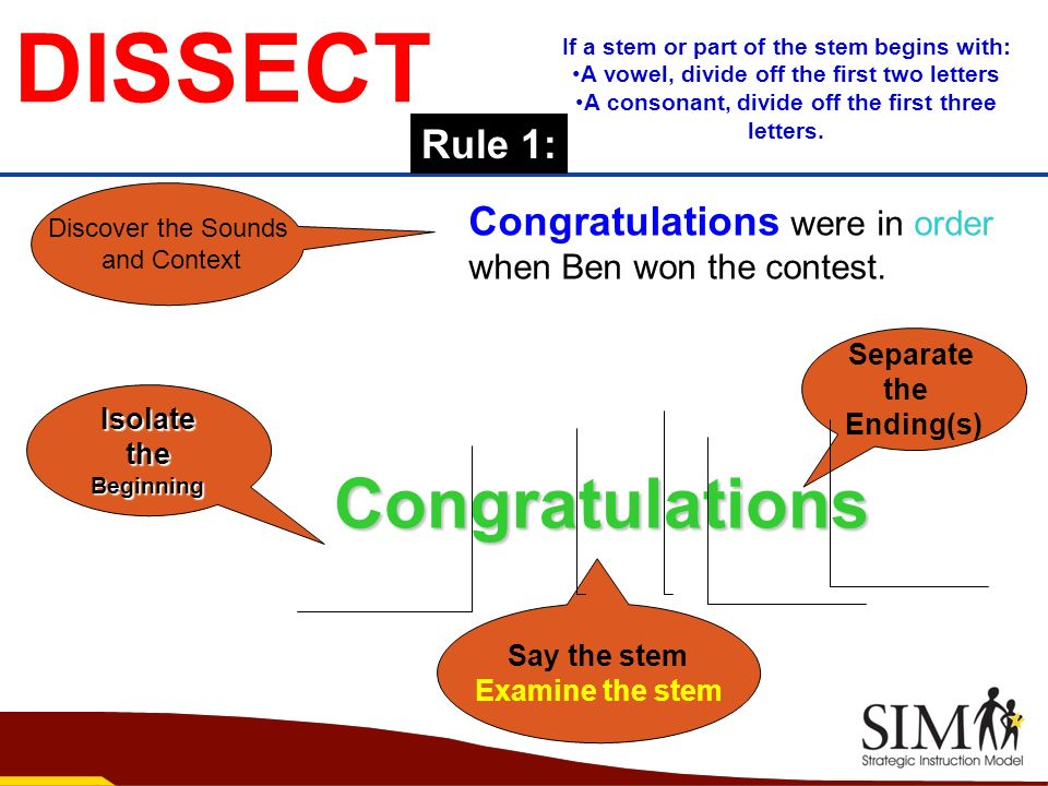 DISSECT Congratulations Rule 1: