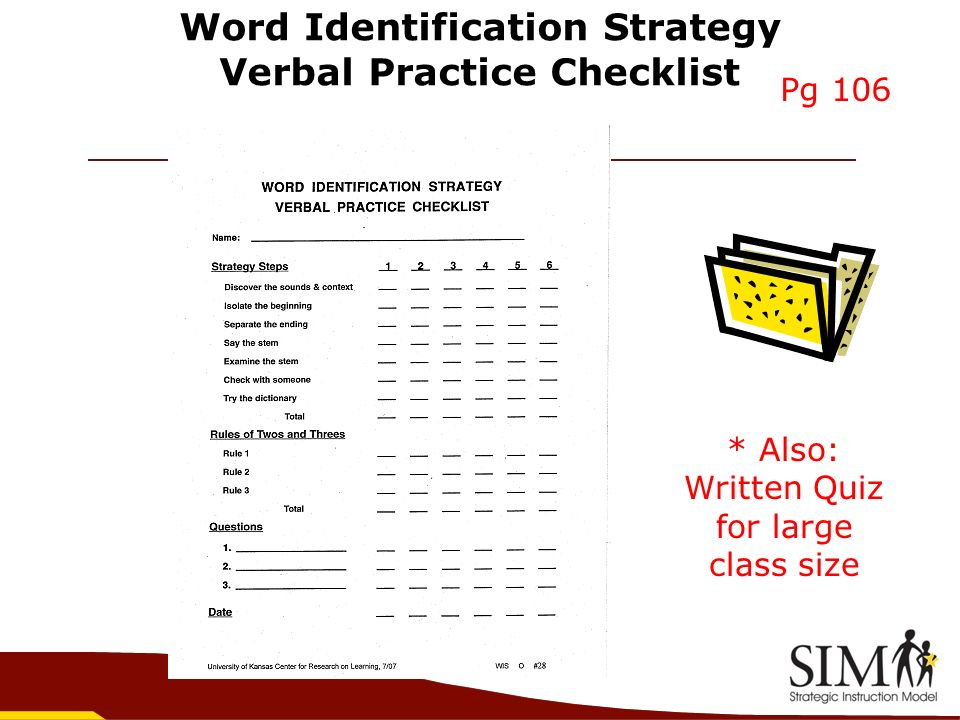Word Identification Strategy Verbal Practice Checklist