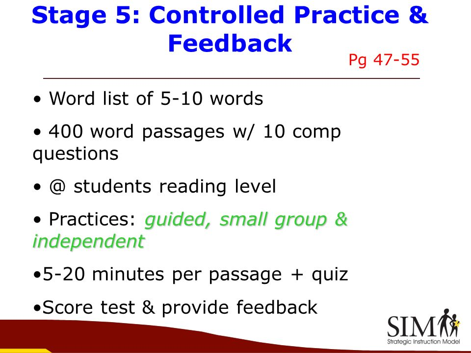 Stage 5: Controlled Practice & Feedback
