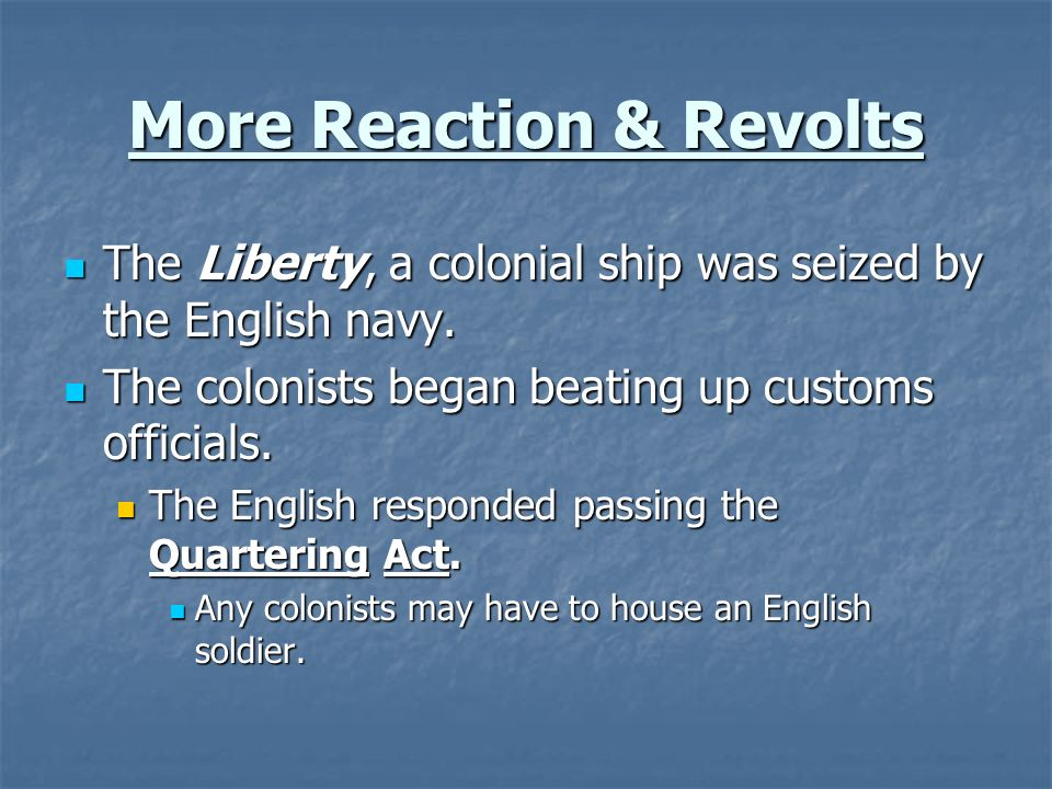 More Reaction & Revolts
