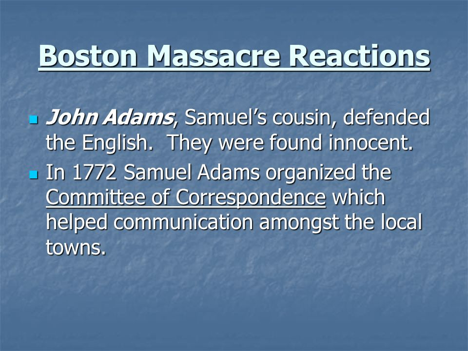 Boston Massacre Reactions