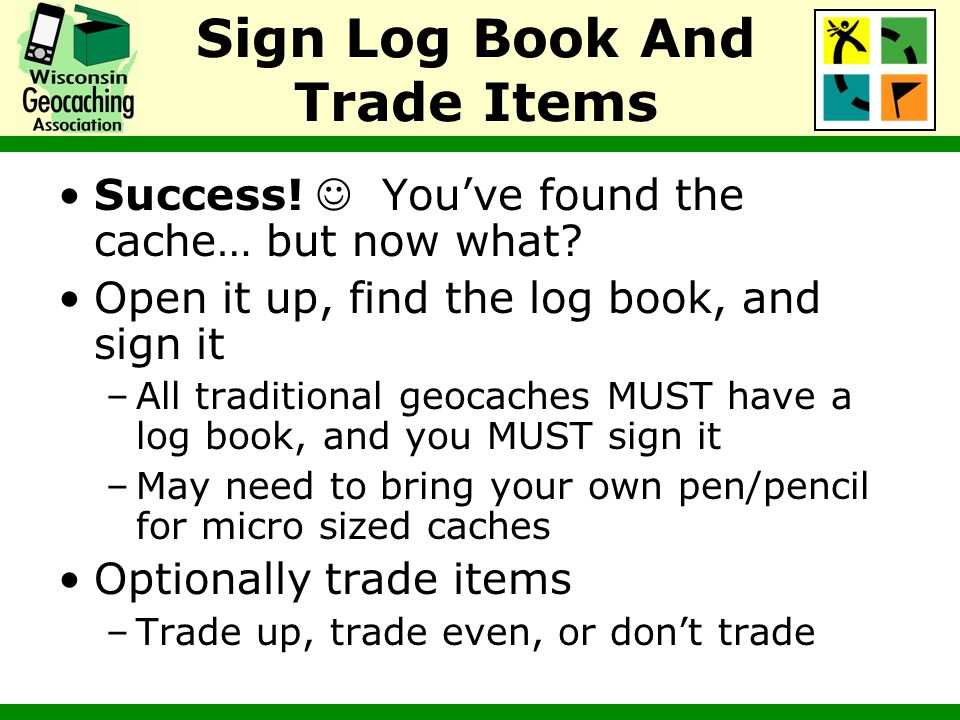 Sign Log Book And Trade Items