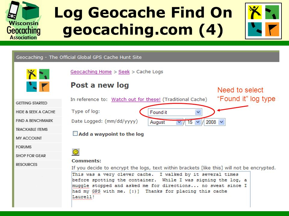 Log Geocache Find On geocaching.com (4)