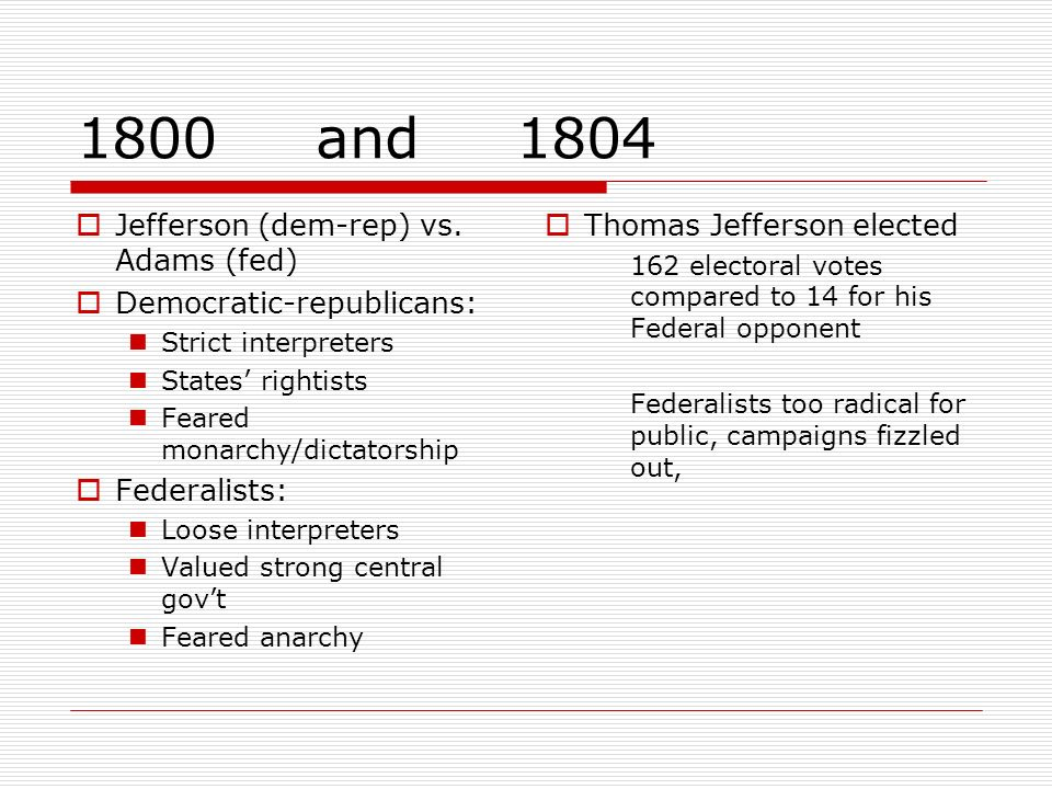 1800 and 1804 Jefferson (dem-rep) vs. Adams (fed)