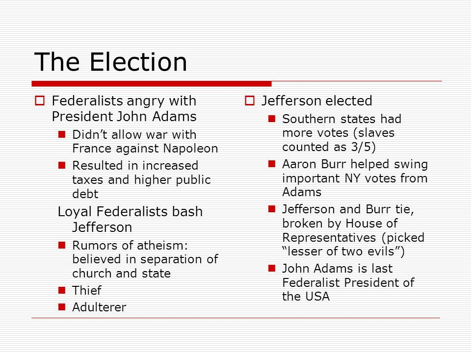The Election Federalists angry with President John Adams