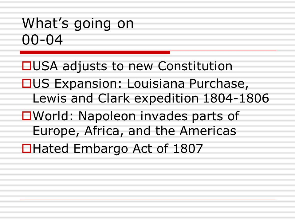 What's going on 00-04 USA adjusts to new Constitution