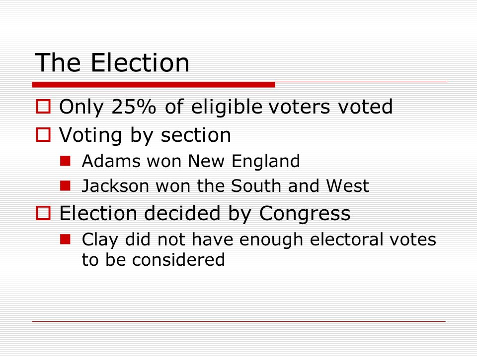 The Election Only 25% of eligible voters voted Voting by section