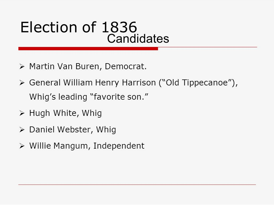 Election of 1836 Candidates Martin Van Buren, Democrat.