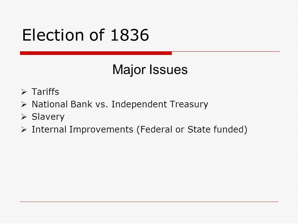 Election of 1836 Major Issues Tariffs