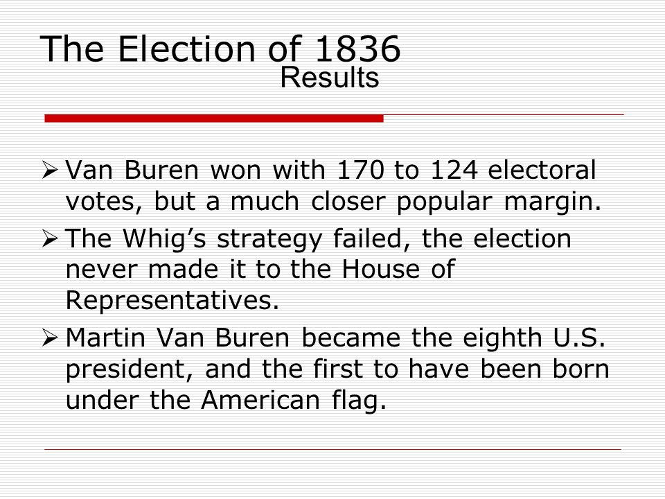 The Election of 1836 Results
