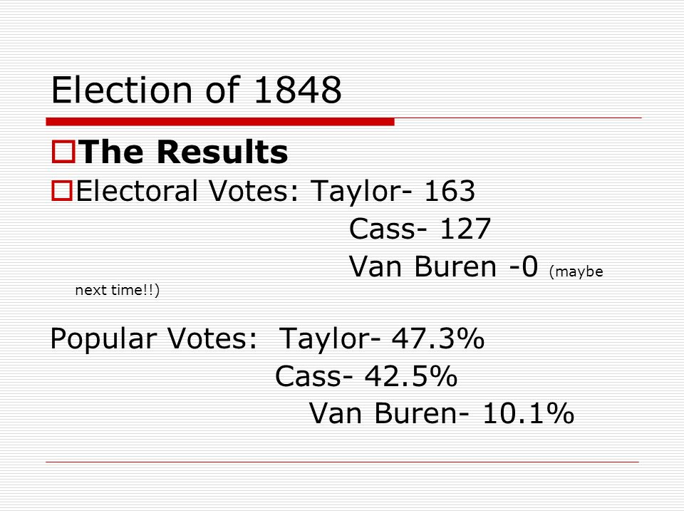 Election of 1848 The Results Electoral Votes: Taylor- 163 Cass- 127