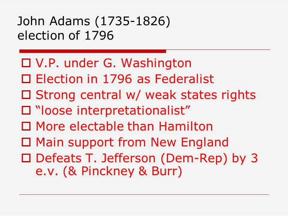 John Adams (1735-1826) election of 1796