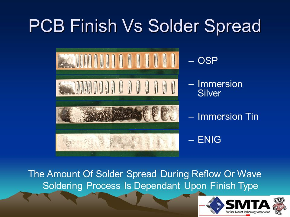 PCB Finish Vs Solder Spread