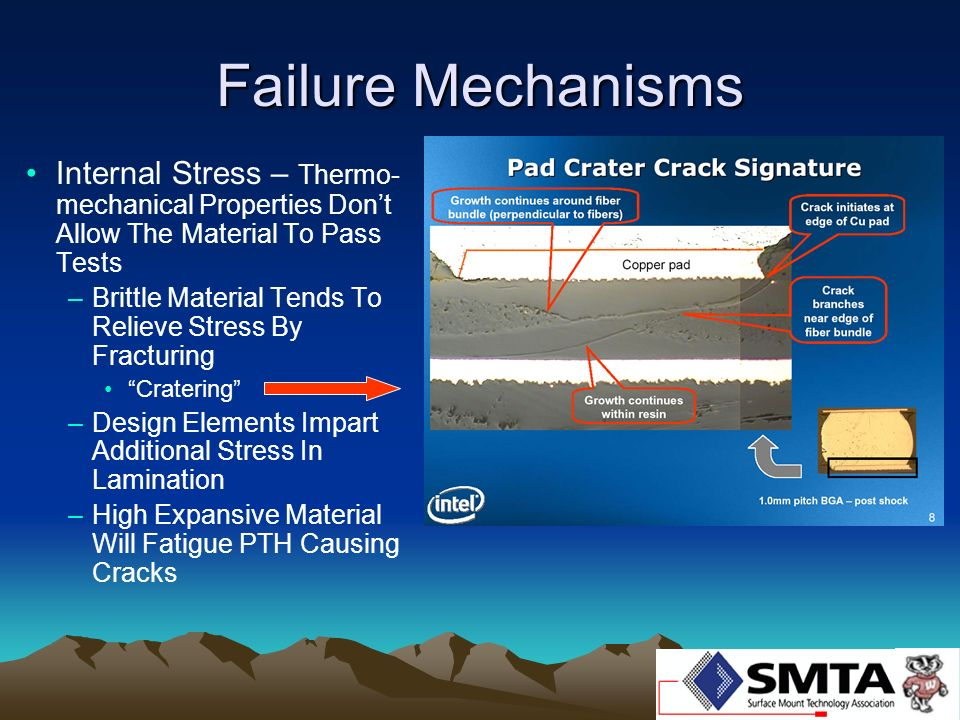 Failure Mechanisms Internal Stress – Thermo-mechanical Properties Don't Allow The Material To Pass Tests.