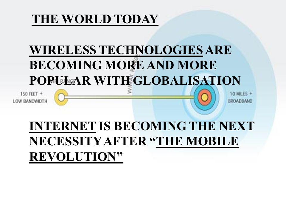 THE WORLD TODAY WIRELESS TECHNOLOGIES ARE BECOMING MORE AND MORE POPULAR WITH GLOBALISATION.