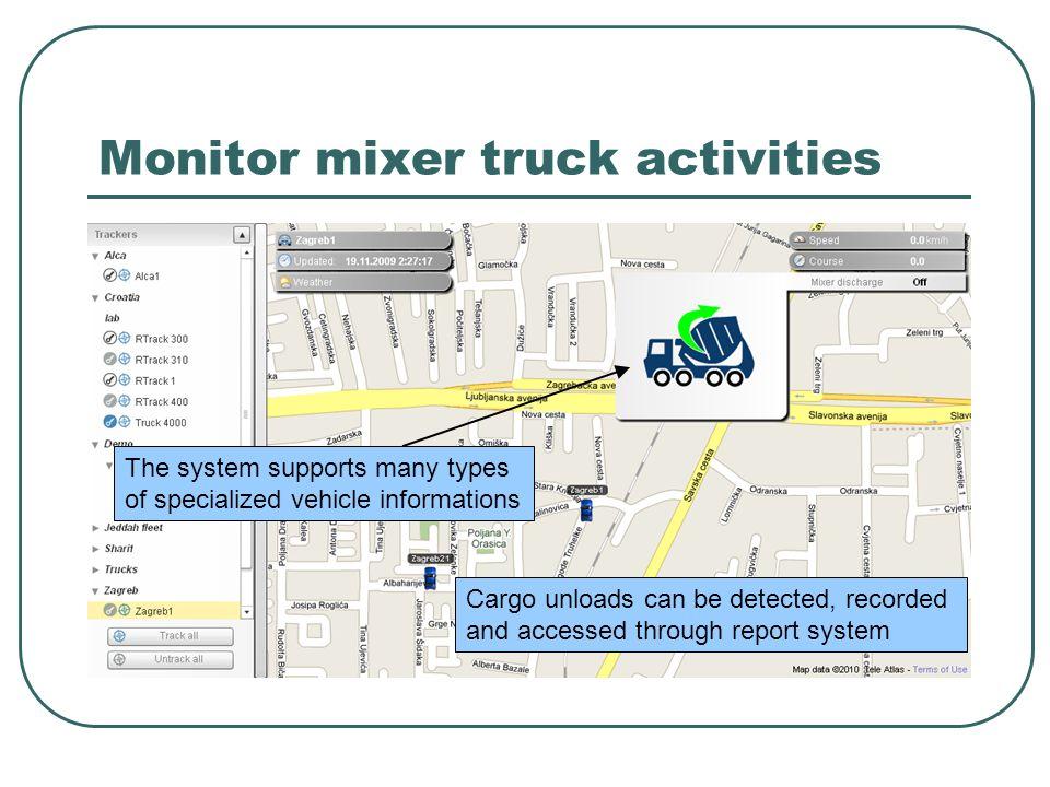 Monitor mixer truck activities