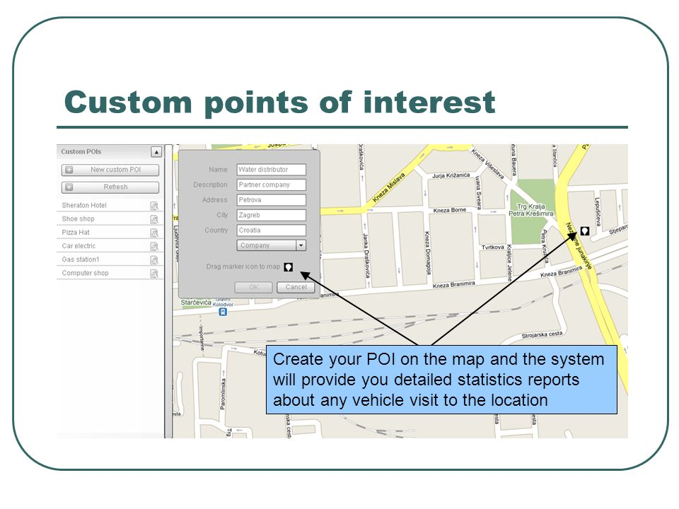 Custom points of interest