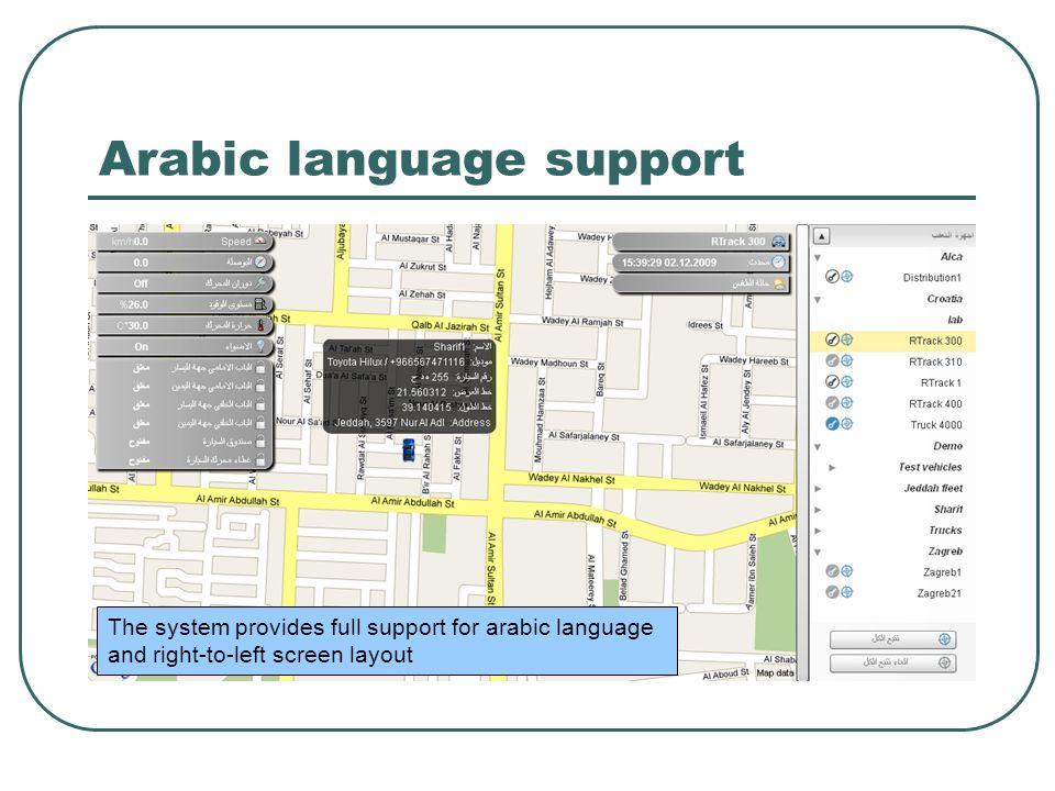 Arabic language support