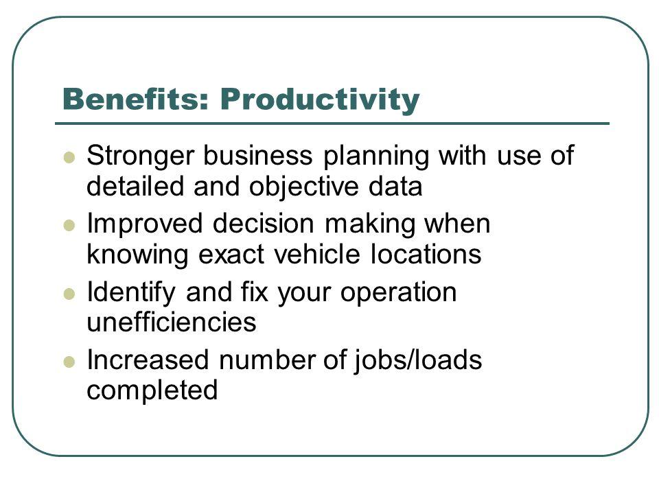 Benefits: Productivity