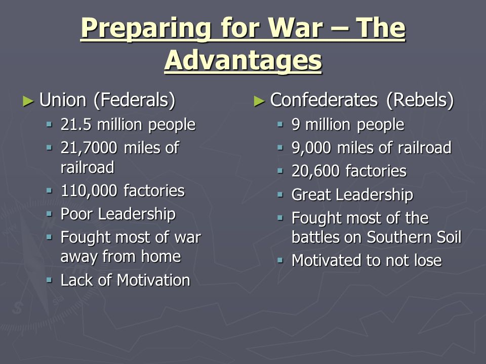 Preparing for War – The Advantages