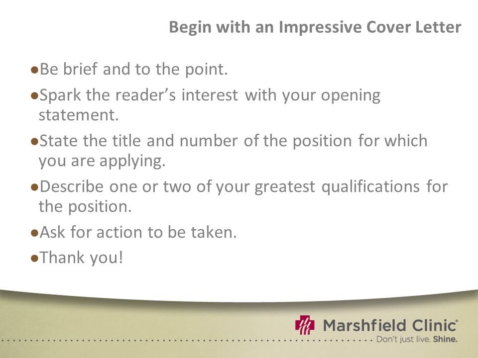 Begin with an Impressive Cover Letter
