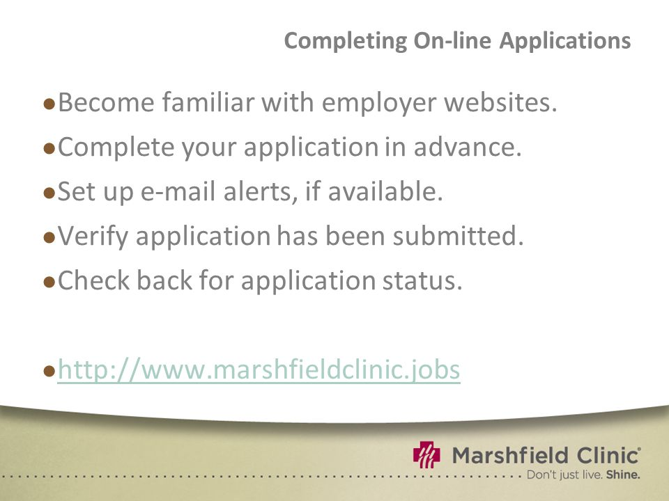 Completing On-line Applications