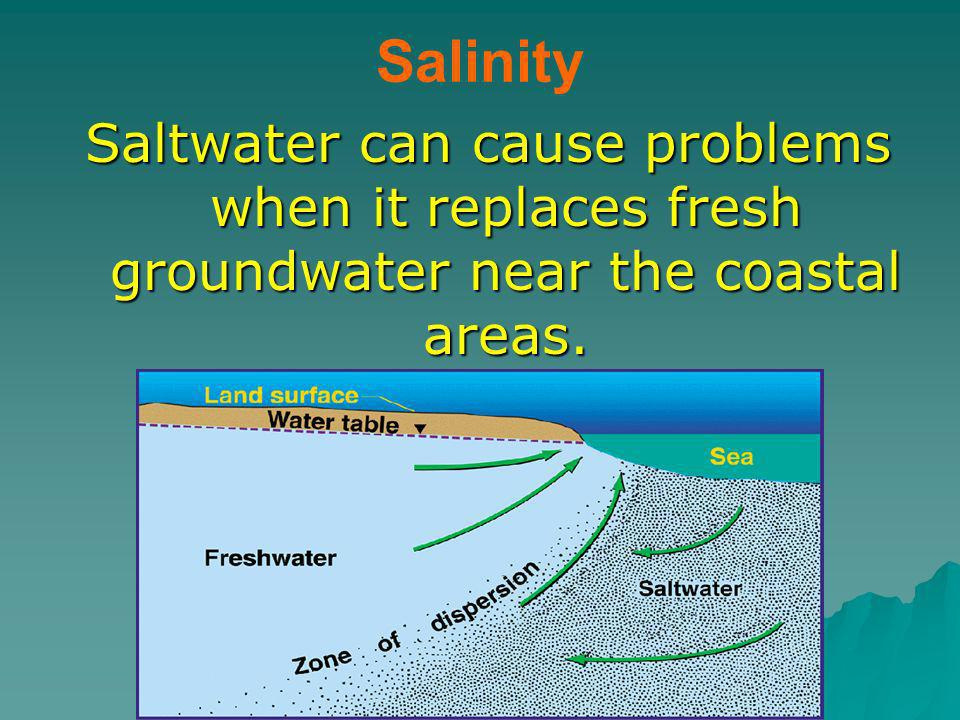 Salinity Saltwater can cause problems when it replaces fresh groundwater near the coastal areas.