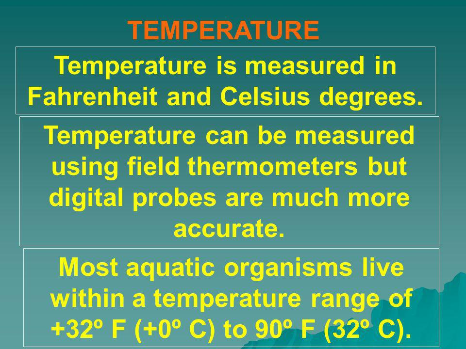 Temperature is measured in Fahrenheit and Celsius degrees.