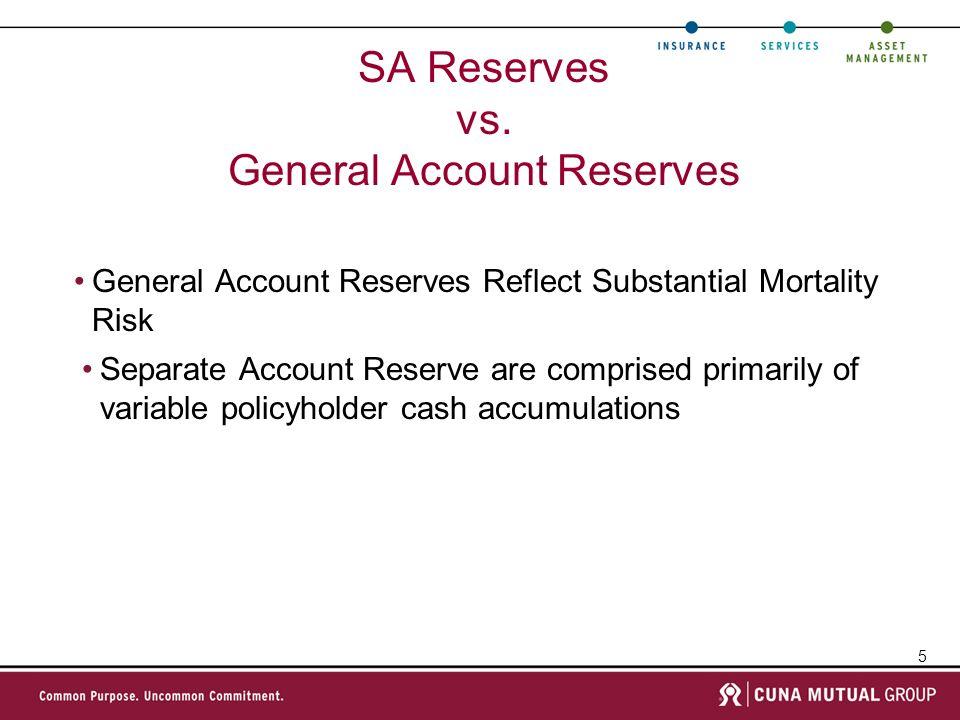 SA Reserves vs. General Account Reserves