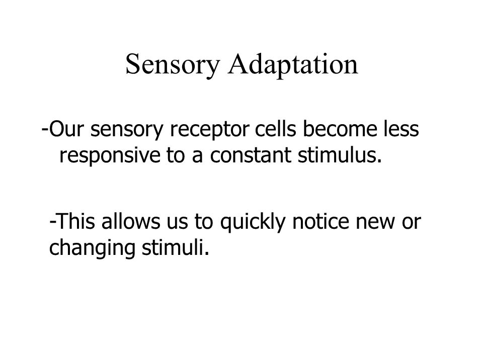 Sensory Adaptation -Our sensory receptor cells become less responsive to a constant stimulus.