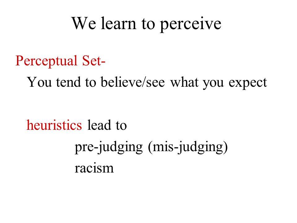 We learn to perceive Perceptual Set-