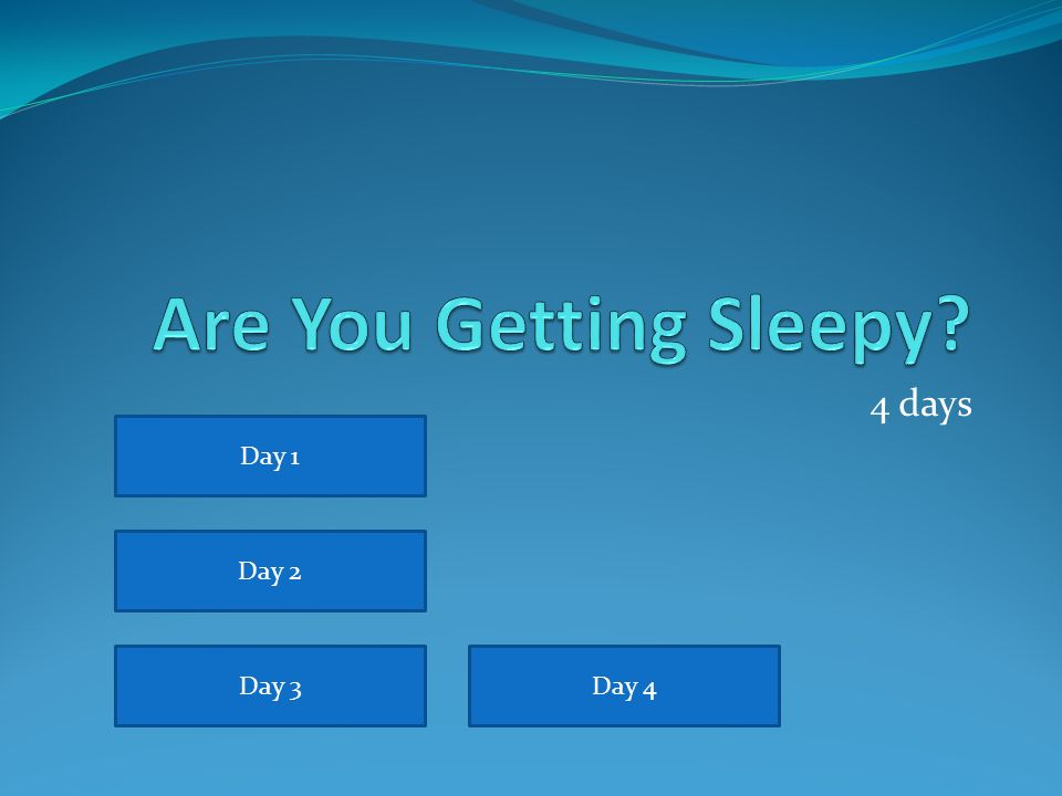 Are You Getting Sleepy 4 days Day 1 Day 2 Day 3 Day 4