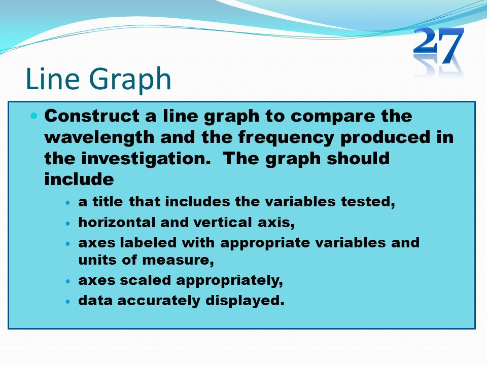 27 Line Graph. Construct a line graph to compare the wavelength and the frequency produced in the investigation. The graph should include.