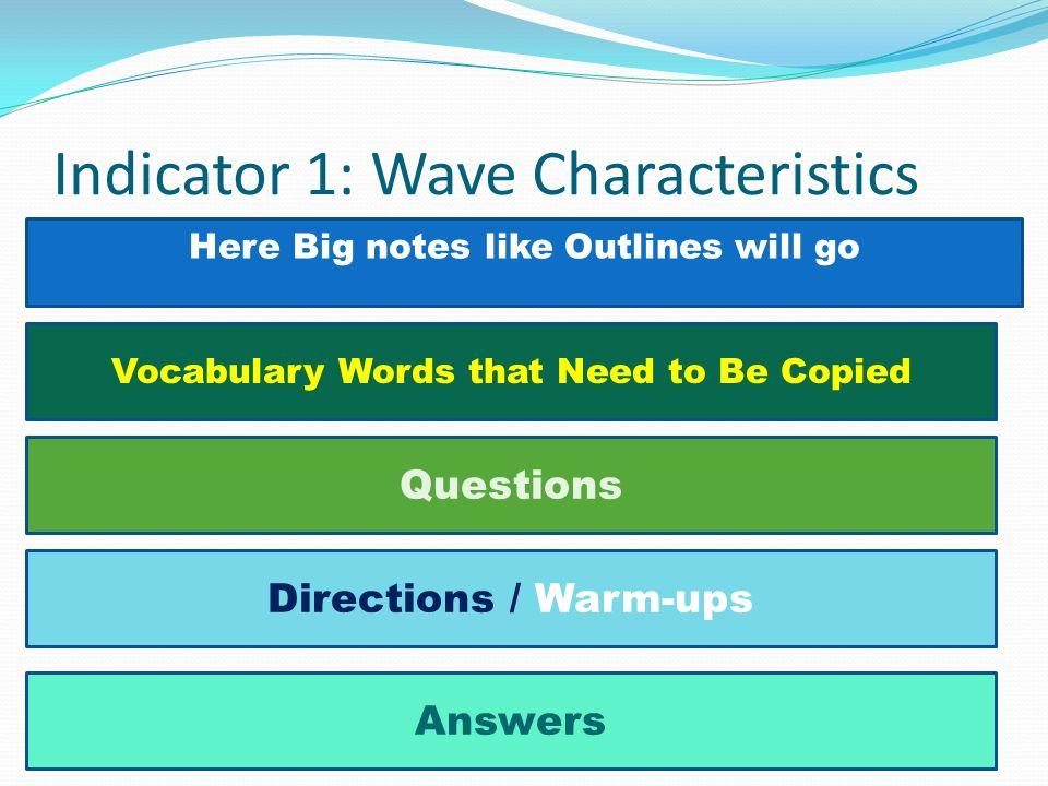 Indicator 1: Wave Characteristics