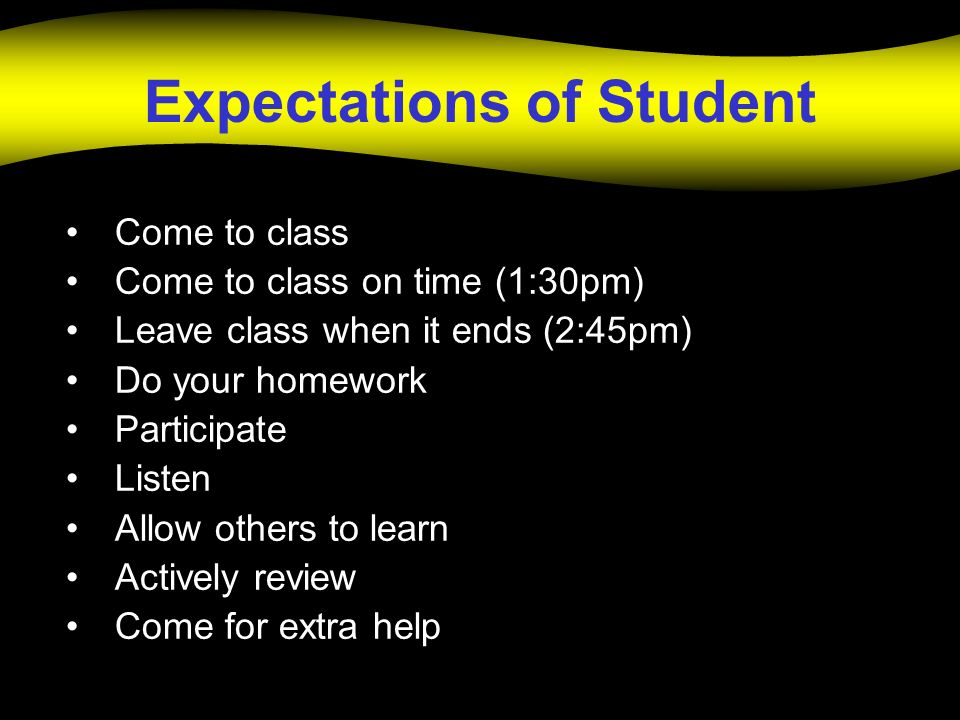 Expectations of Student