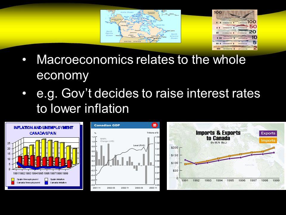 Macro Macroeconomics relates to the whole economy