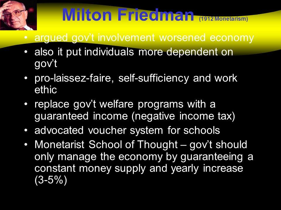Milton Friedman (1912 Monetarism)