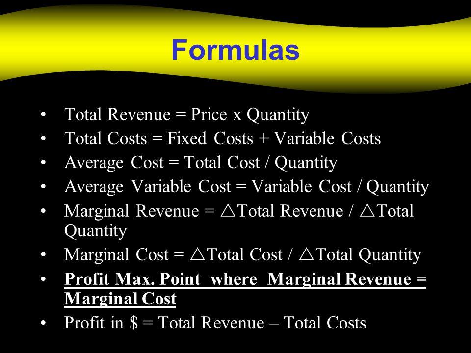 Formulas Total Revenue = Price x Quantity