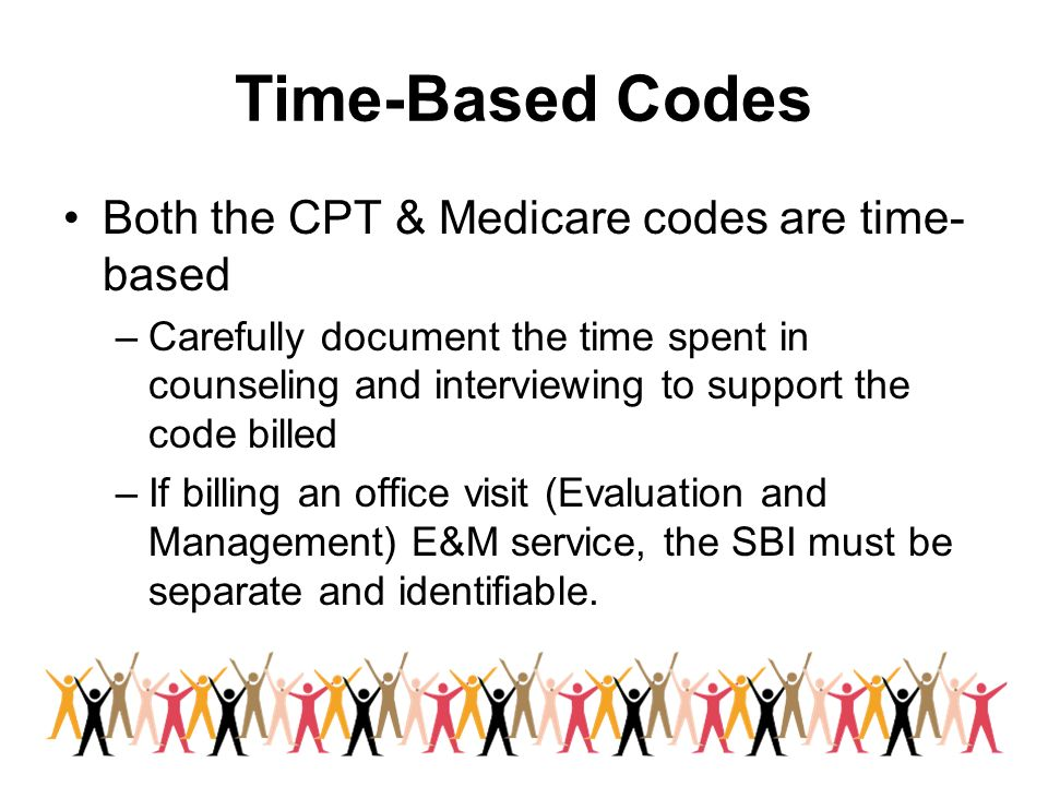 Time-Based Codes Both the CPT & Medicare codes are time-based