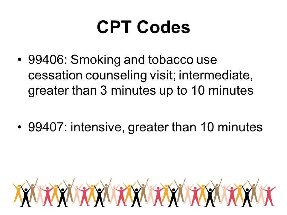 CPT Codes 99406: Smoking and tobacco use cessation counseling visit; intermediate, greater than 3 minutes up to 10 minutes.
