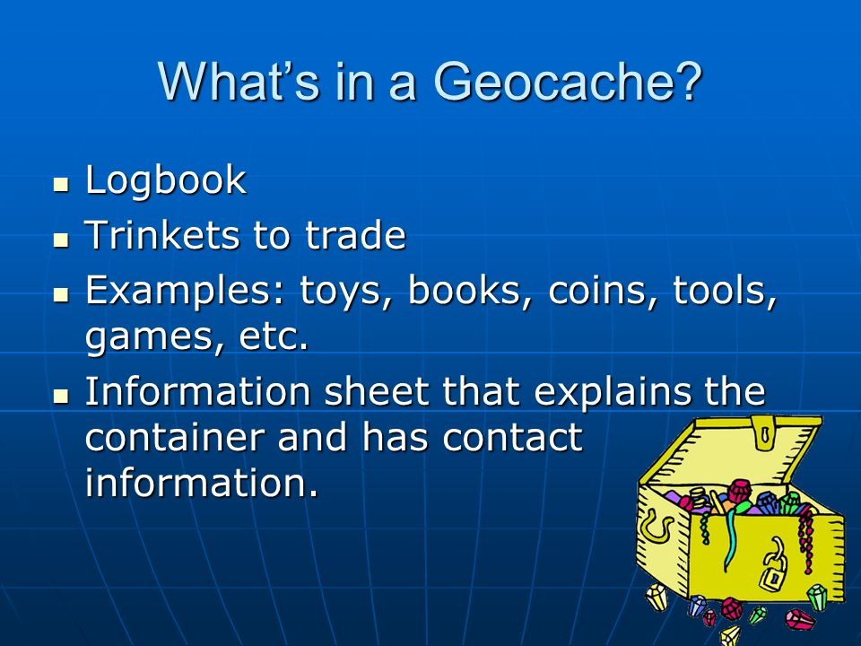 What's in a Geocache Logbook Trinkets to trade