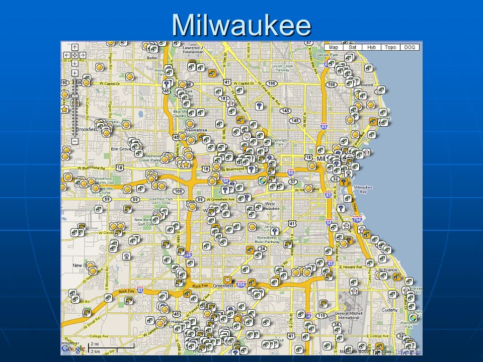 Milwaukee Map from 11/4/07. 378 caches shown here. Smiley's are those found by abcdmCachers.