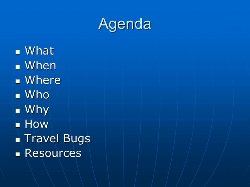 Agenda What When Where Who Why How Travel Bugs Resources