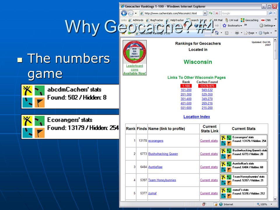 Why Geocache #4 The numbers game