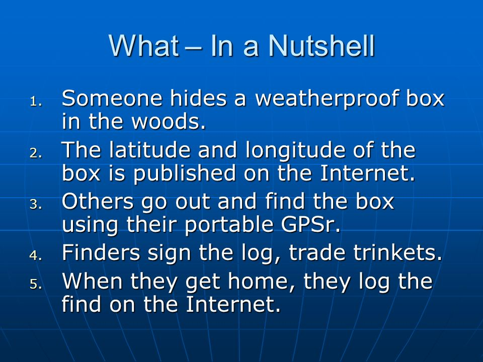 What – In a Nutshell Someone hides a weatherproof box in the woods.