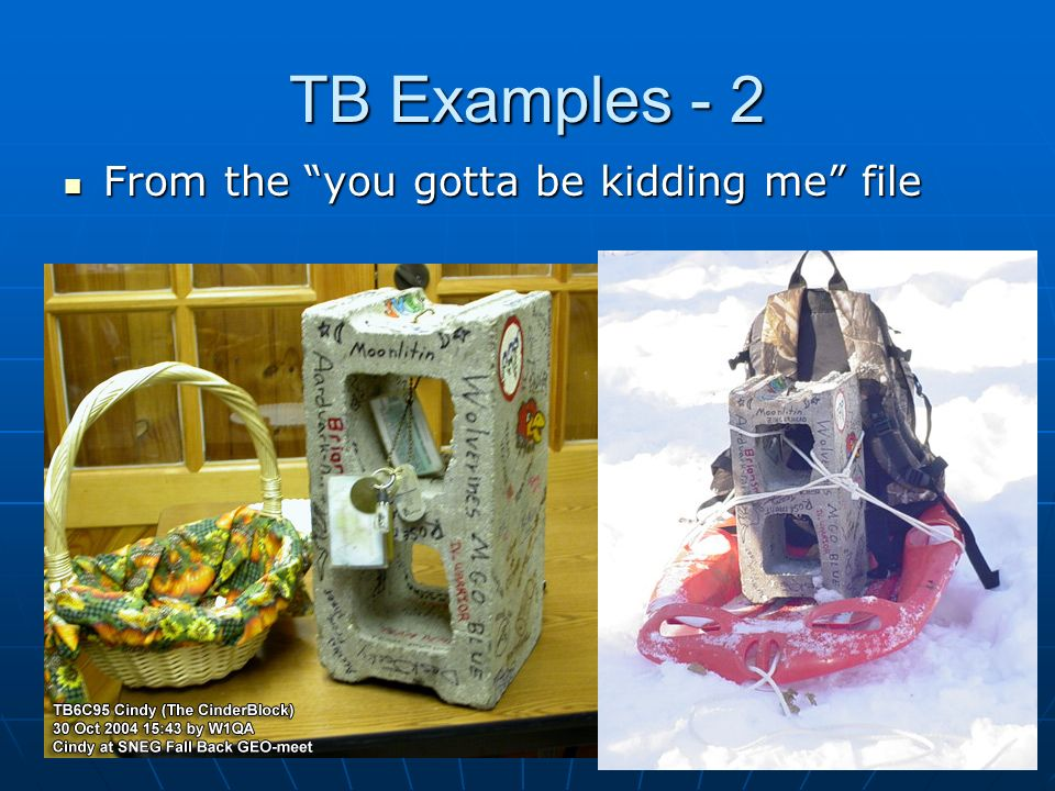 TB Examples - 2 From the you gotta be kidding me file